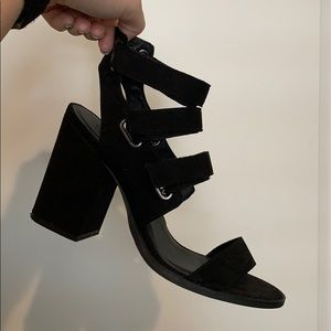 Black Urban Outfitters Velcro Strappy Block Heels